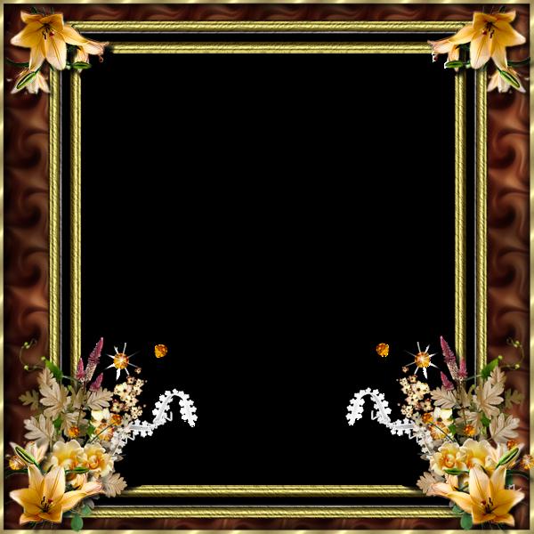 cadre or et marron avec d co fleurs. Black Bedroom Furniture Sets. Home Design Ideas