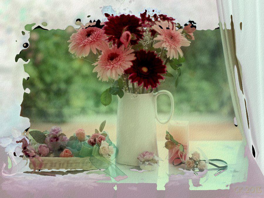 cadre fleurs et vase. Black Bedroom Furniture Sets. Home Design Ideas